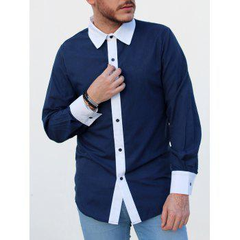 Slimming Shirt Collar Trendy Simple Color Block Splicing Long Sleeve Men's Cotton Blend Shirt