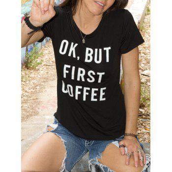 Chic Round Neck Letter Print Short Sleeve Women's T-Shirt