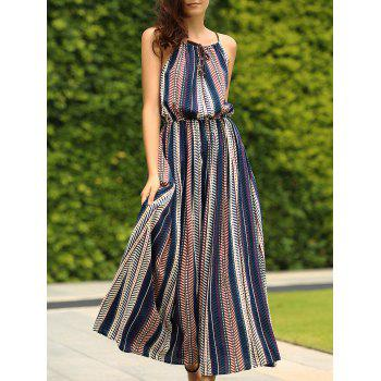 Spaghetti Strap Sleeveless Striped Dress For Women