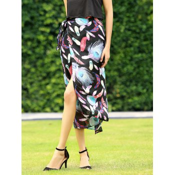 Stylish Side Slit Feather Print Skirt For Women