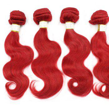 1 Pcs 6A Virgin Pure Red Body Wave Indian Human Hair Weave For Women - RED 18INCH