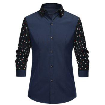 Geometric Print Splicing Turn-Down Collar Long Sleeve Men's Shirt