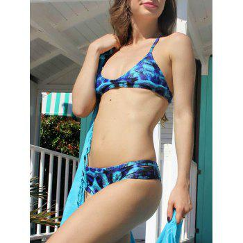 Spaghetti Strap Printed Hollow Out Bikini Set