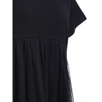 Trendy Women's Short Sleeve Spliced Pure Color Maxi Dress - BLACK ONE SIZE(FIT SIZE XS TO M)