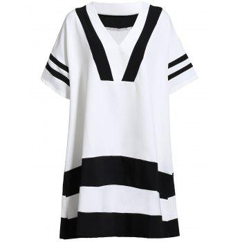 Preppy Style Women's V Neck Short Sleeve Striped Color Block Dress