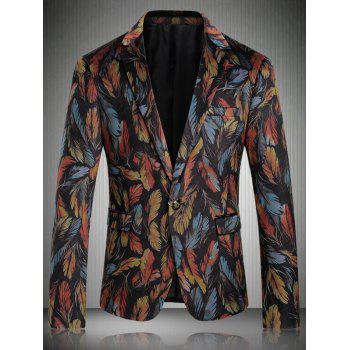 Buy Turn-Down Collar Men's Long Sleeve Colored Feather Print Single-Breasted Blazer COLORMIX
