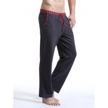 Casual Straight Leg Drawstring Striped Printed Sporty Pants For Men - DEEP GRAY L