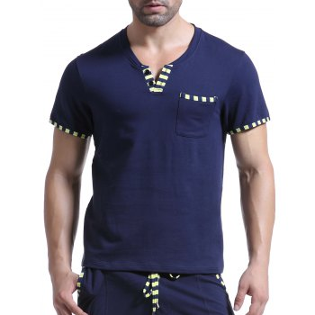 Casual V-Neck Striped Printed Short Sleeve Men's T-Shirt - SAPPHIRE BLUE M