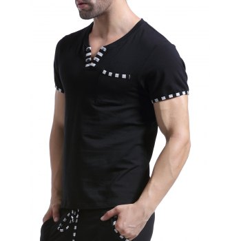 Casual V-Neck Striped Printed Short Sleeve Men's T-Shirt - BLACK BLACK