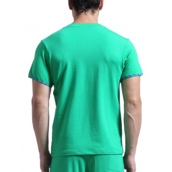 Casual V-Neck Striped Printed Short Sleeve Men's T-Shirt - GREEN L