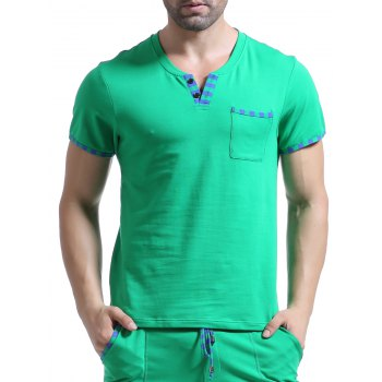 Casual V-Neck Striped Printed Short Sleeve Men's T-Shirt - GREEN GREEN