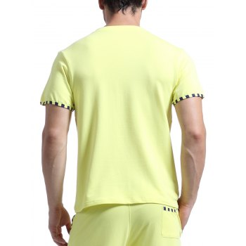 Casual V-Neck Striped Printed Short Sleeve Men's T-Shirt - YELLOW M