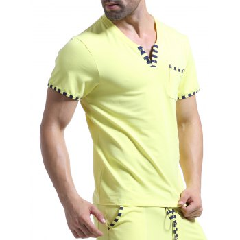 Casual V-Neck Striped Printed Short Sleeve Men's T-Shirt - YELLOW L