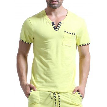 Casual V-Neck Striped Printed Short Sleeve Men's T-Shirt - YELLOW YELLOW
