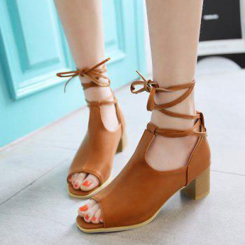Trendy Chunky Heel and Lace-Up Design Women's Peep Toe Shoes - BROWN 39
