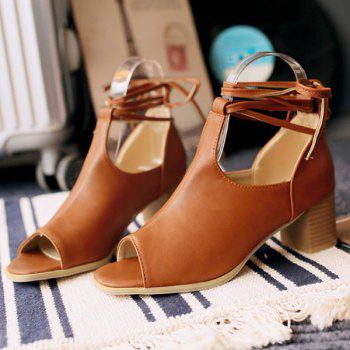Trendy Chunky Heel and Lace-Up Design Women's Peep Toe Shoes - 39 39