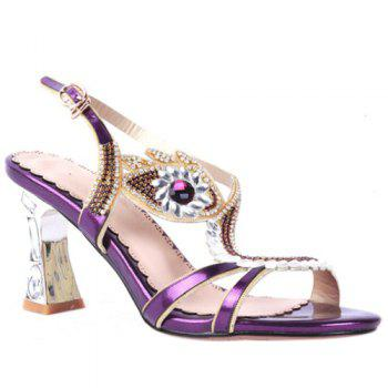 Trendy Rhinestone and Chunky Heel Design Women's Sandals