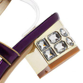 Bling Bling T-Strap and Rhinestone Design Women's Sandals - PURPLE 36