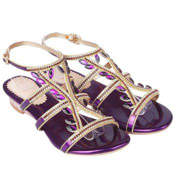 Trendy Faux Jewel and Flat Heel Design Women's Sandals