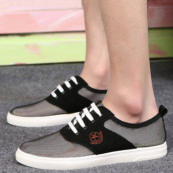 Fashionable Splicing and Mesh Design Men's Casual Shoes - BLACK 44
