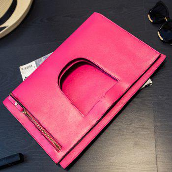 Trendy PU Leather and Zip Design Women's Clutch Bag -  ROSE