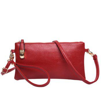 Casual Metal Solid Colour Design Women's Clutch Bag WINE RED
