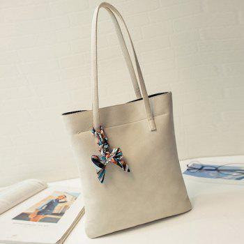 Simple Solid Color and PU Leather Design Women's Shoulder Bag - OFF WHITE