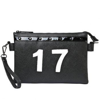 Stylish Number and Rivet Design Men's Clutch Bag - BLACK BLACK