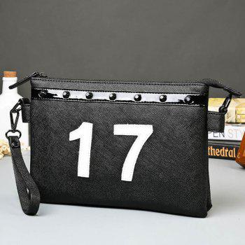 Stylish Number and Rivet Design Men's Clutch Bag -  BLACK