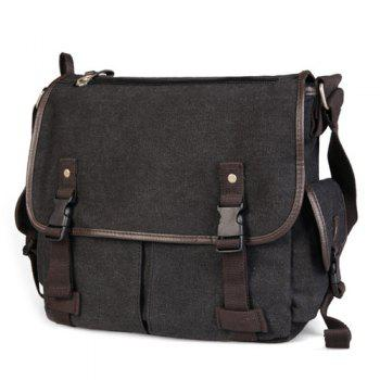 Preppy Canvas and Solid Color Design Men's Messenger Bag -  BLACK GREY
