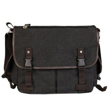 Preppy Canvas and Solid Color Design Men's Messenger Bag - BLACK GREY BLACK GREY