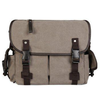 Preppy Canvas and Pocket Design Men's Messenger Bag