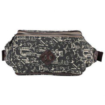 Casual Print and Canvas Design Men's Messenger Bag - BLACK BLACK