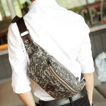 Casual Print and Canvas Design Men's Messenger Bag -  BLACK