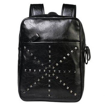 Stylish Rivet and Black Color Design Men's Backpack