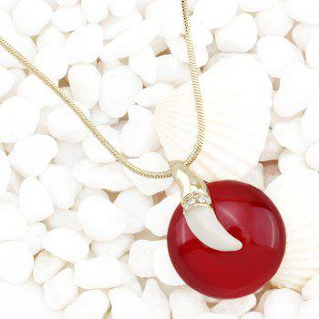 Stylish Faux Gem Pepper Rhinestone Round Necklace For Women - RED