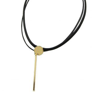 Faux Leather Bar Necklace - GOLDEN