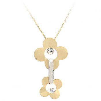 Sweet Gold Plate Flower Hollow Out Rhinestone Pendant Necklace For Women