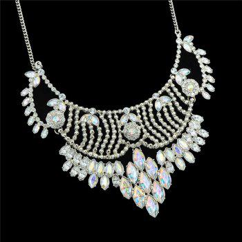 Faux Crystal Oval Alloy Necklace - SILVER