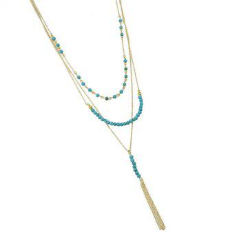 Faux Turquoise Multilayered Necklace - GOLDEN