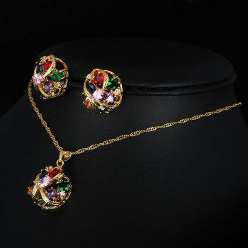 Fake Gem Zircon Necklace and Earrings - COLORMIX