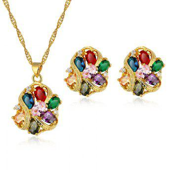 Fake Gem Zircon Necklace and Earrings