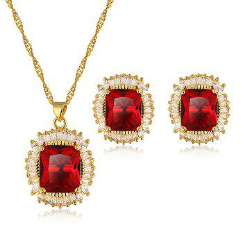 A Suit of Faux Ruby Zircon Geometric Necklace and Earrings