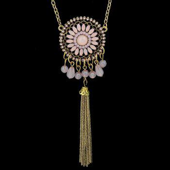 Graceful Multilayered Coin Flower Sweater Chain For Women -  PINK