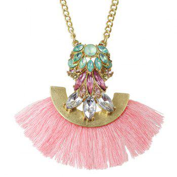Delicate Faux Crystal Tassel Sweater Chain For Women - PINK