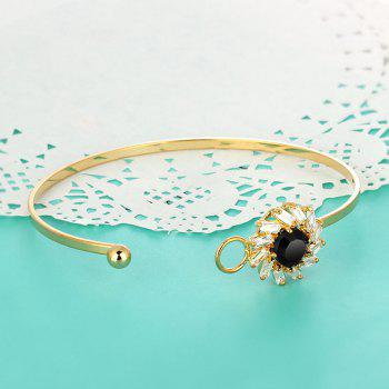 Floral Faux Gem Zircon Bracelet - GOLDEN