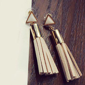 Pair of Triangle Faux Crystal Tassel Drop Earrings - COMPLEXION