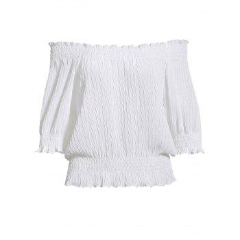 Sweet Puff Sleeves Off-The-Shoulder Ruffled Women's Chiffon Short Blouse