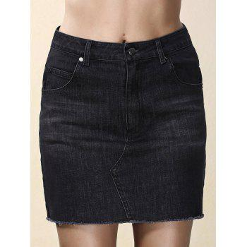 Fashionable Black Denim Pocket Design Women's Mini Skirt