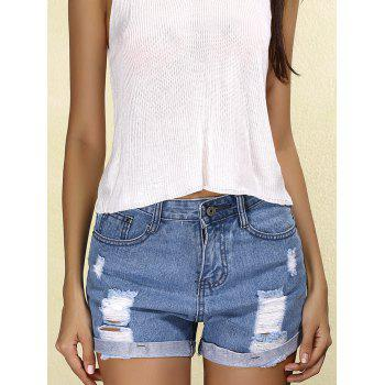 Stylish Mid Waist Ripped Denim Cuffed Women's Shorts